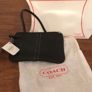Black Leather Coach Small Wristlet NEW WITH TAGS.